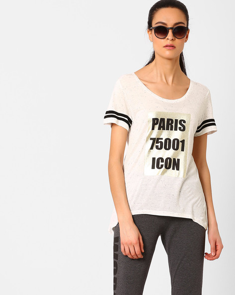 Printed High-Low T-shirt By AJIO ( Offwhite )