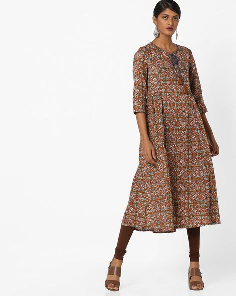 Printed A-line Kurta With Tassel Tie-Up By AJIO ( Brown )