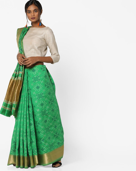 Printed Saree With Contrast Border By Pihu ( Green )