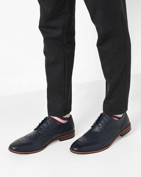 Genuine Leather N9-Treated Derby Shoes By AJIO ( Navy )