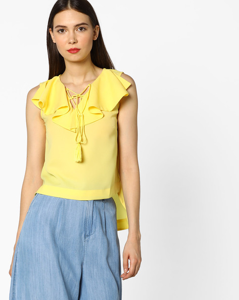 High-Low Top With Ruffled Neckline By AJIO ( Yellow )