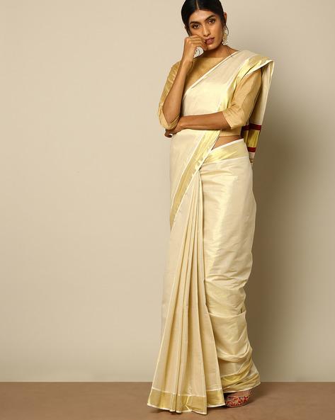 Kerala Kasavu Tissue Saree With Mina Pallu By Indie Picks ( Offwhite )