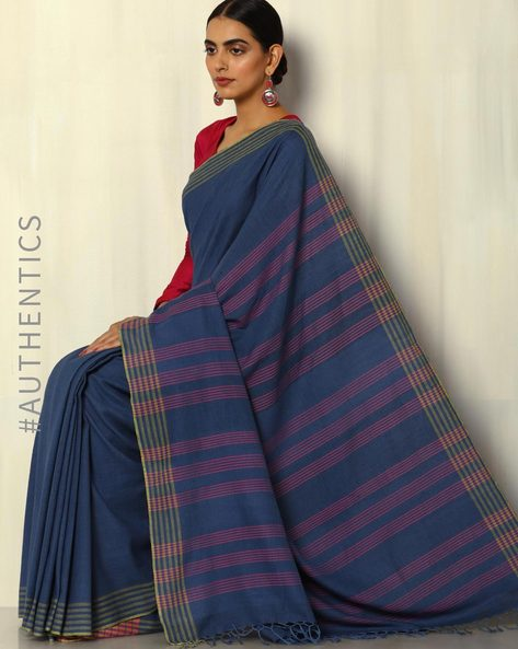 Handwoven Khadi Cotton Saree With Striped Blouse By DRAP ( Navy )