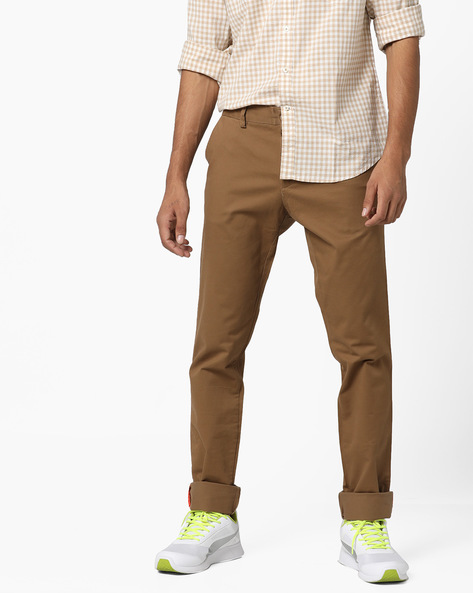Slim Fit Flat-Front Trousers By INDIAN TERRAIN ( Tan )