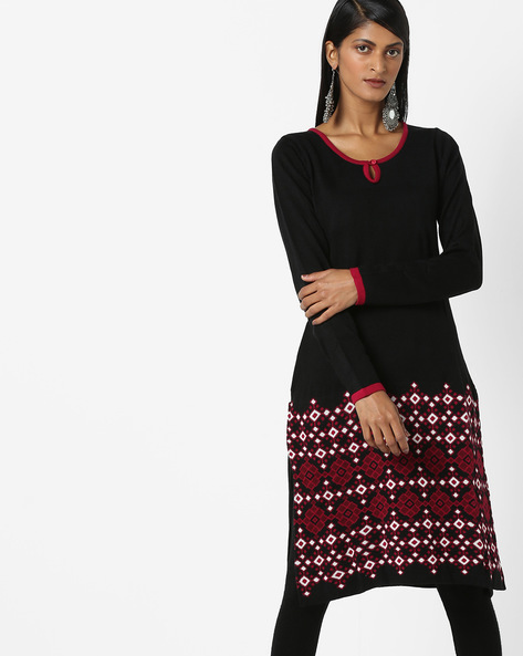 Knitted Kurta With Contrast Sleeve Hems By Melange By Lifestyle ( Black )