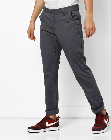 Mid-Rise Flat-Front Chinos By NETPLAY ( Medgrey )
