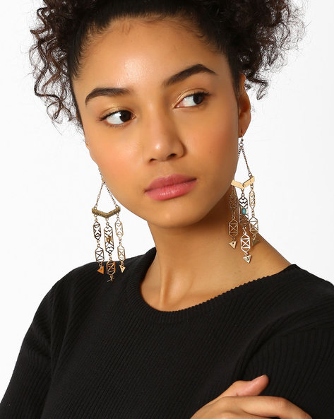 Aztec Statement Drop-Earrings By Bauble Beads ( Gold )
