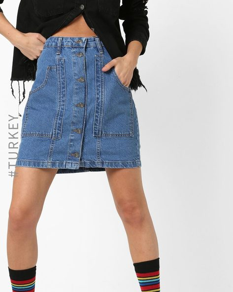 Denim A-line Button-Down Skirt By TRENDYOL ( Blue )