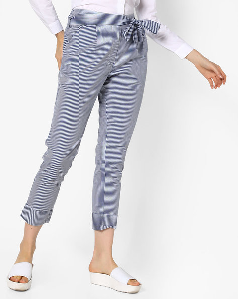 Cropped Striped Trousers With Belt Tie-Up By Evah London ( Multi )