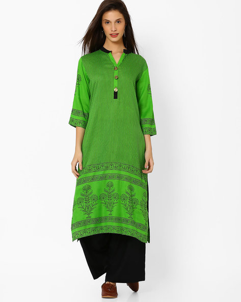 Screen Printed Straight Kurta By Shakumbhari ( Green )