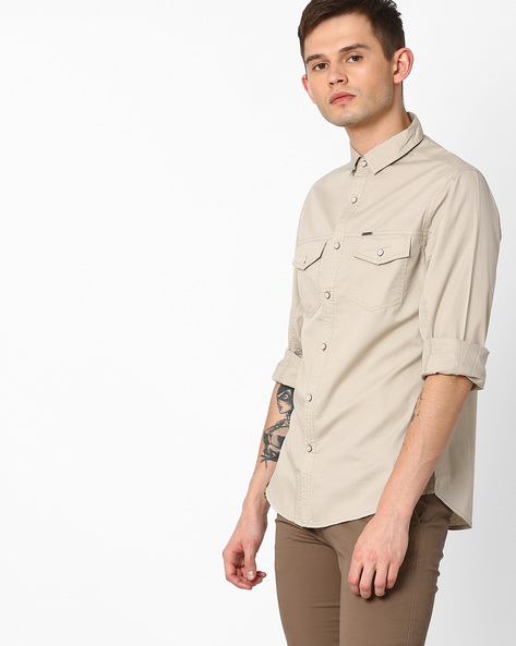 Slim Fit Shirt With Patch Pockets By AJIO ( Stone )