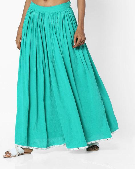 Flared Skirt With Gota Hemline By AJIO ( Lightgreen )