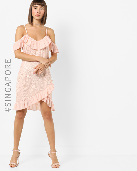 Cold-Shoulder Lace Dress With Ruffle Panels By MDS ( Pink )