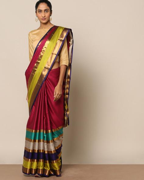Mercerised Cotton Striped Saree With Zari Bor By Indie Picks ( Fuschia )