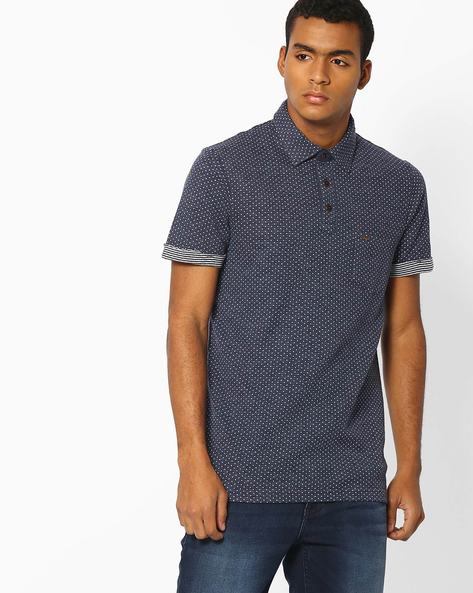Printed Polo T-shirt With Patch Pocket By INDIAN TERRAIN ( Navyblue )