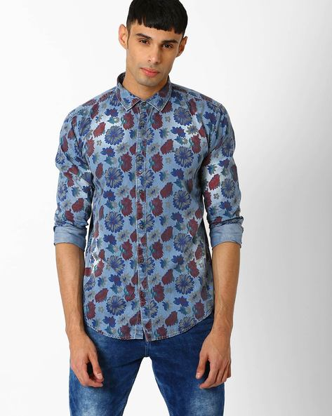 Slim Fit Floral Print Shirt By BASICS ( Blue )