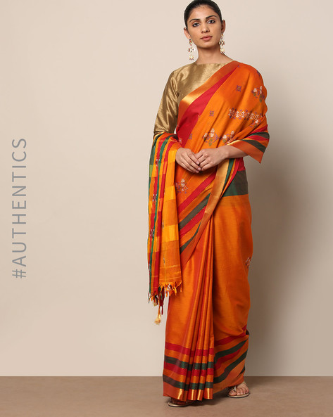 Kasuti Embroidered South Silk Saree By Indie Picks ( Orange )