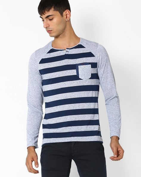 Striped Henley T-shirt With Raglan Sleeves By Fort Collins ( Purple )