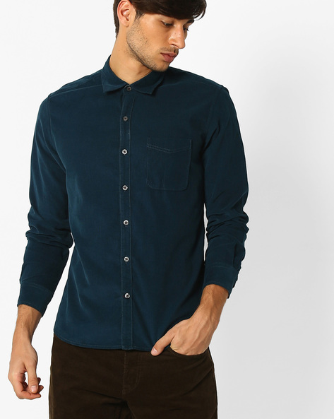 Regular Fit Cotton Shirt By NETPLAY ( Blue )