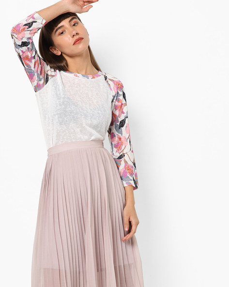 Heathered T-shirt With Floral Print Raglan Sleeves By Vero Moda ( White )