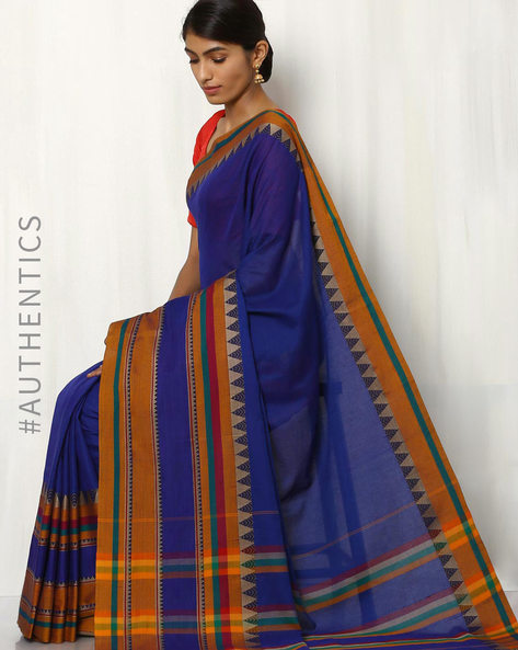 Art Silk Saree With Woven Border By Rudrakaashe-MSU ( Blue )