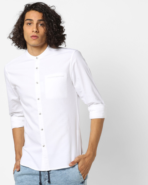 Slim Fit Shirt With Band Collar By AJIO ( White )