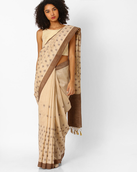 Printed Saree With Contrast Border By Amori ( Beige )
