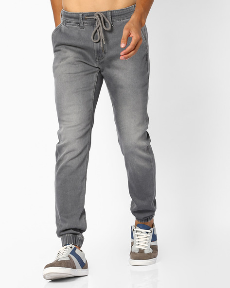 Slim Jogger Jeans With Drawstring Fastening By Pepe Jeans ( Grey )