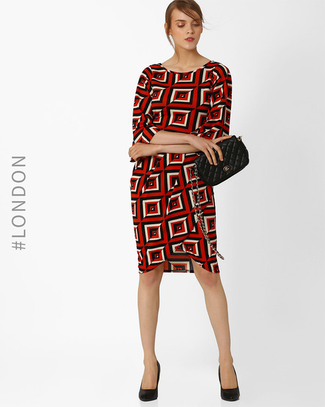 Geometric Print Wrap Tulip Dress By Closet London ( Red )