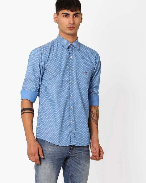 Floral Print Slim Shirt By CRIMSOUNE CLUB ( Blue )