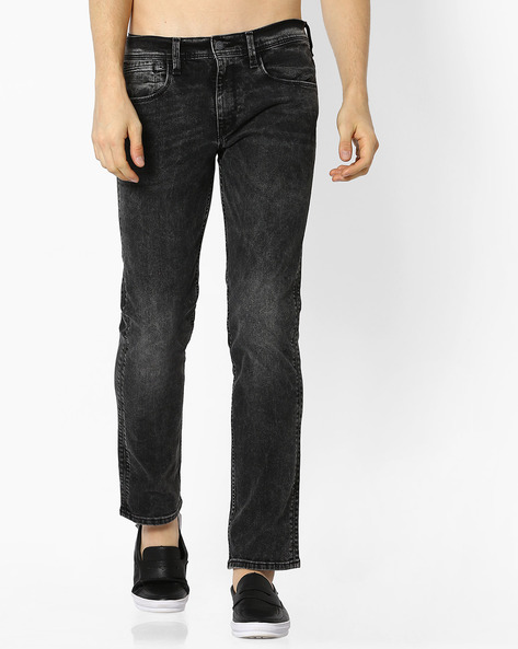 Slim Fit Jeans With Whiskers By LEVIS ( Black )