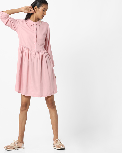 Boxy Shirt Dress By Vero Moda ( Pink )