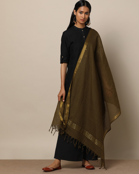 Missing Checked Cotton Dupatta With Zari Border By Indie Picks ( Olive )