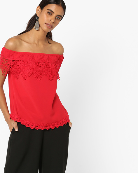 Off-Shoulder Top With Lace Insets By Vero Moda ( Red )