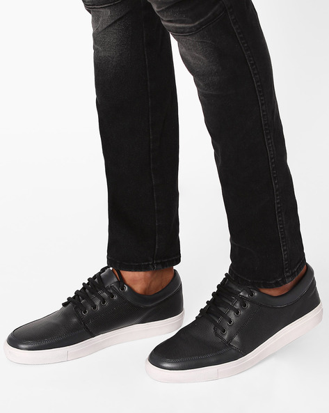 Low-Top Lace-Up Sneakers By FAMOZI ( Blueblack )