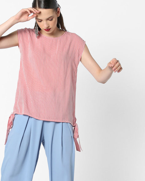 Sleeveless Striped Top With Tie-Ups By AJIO ( Coral )