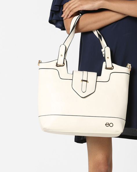 Textured Handbag With Contrast Piping By E2O ( White )