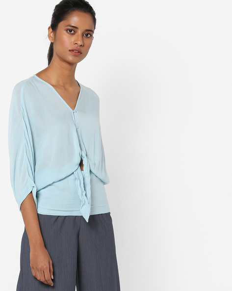 Peasant Top With Tie-Up By AJIO ( Blue )