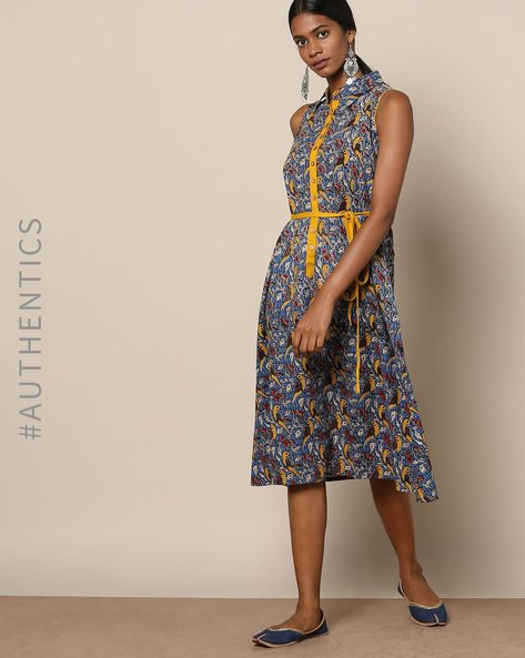 Kalamkari Print Shirt Dress With Tie-Up By Indie Picks ( Blue )