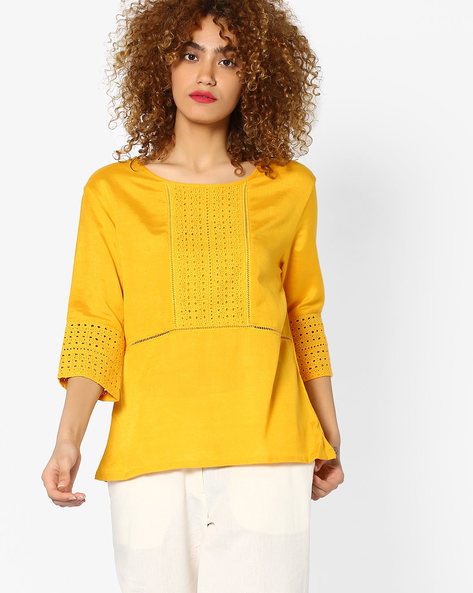 Top With Eyelet Panels By Global Desi ( Mustard )