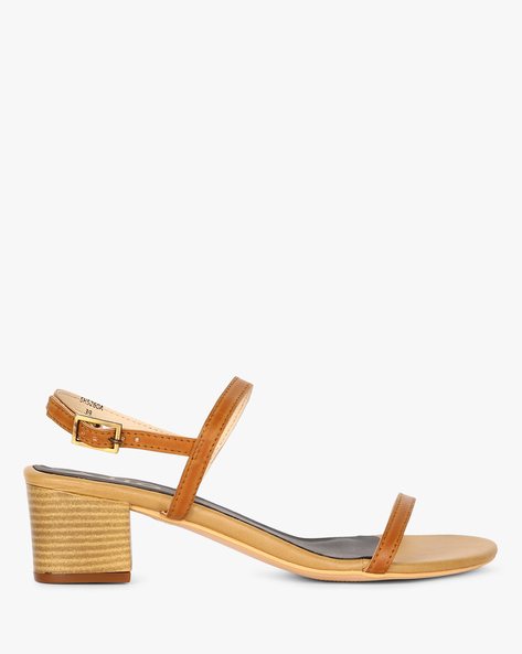 Strappy Block Heels With Buckle Closure By AJIO ( Beige )