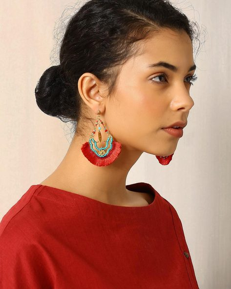 Glass Beaded Bali Earrings With Tassels By Indie Picks ( Red )