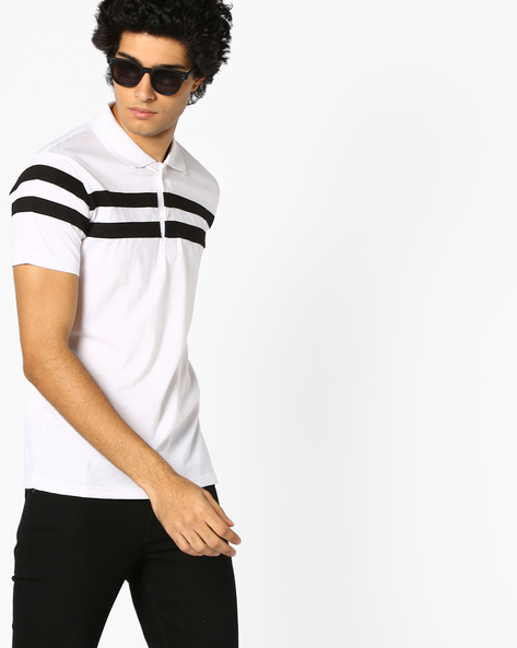 Polo T-shirt With Stripes By BLOTCH ( White )