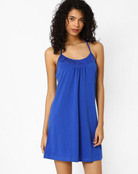 Halter-Neck Beach Dress With Sequins By PrettySecrets ( Blue )