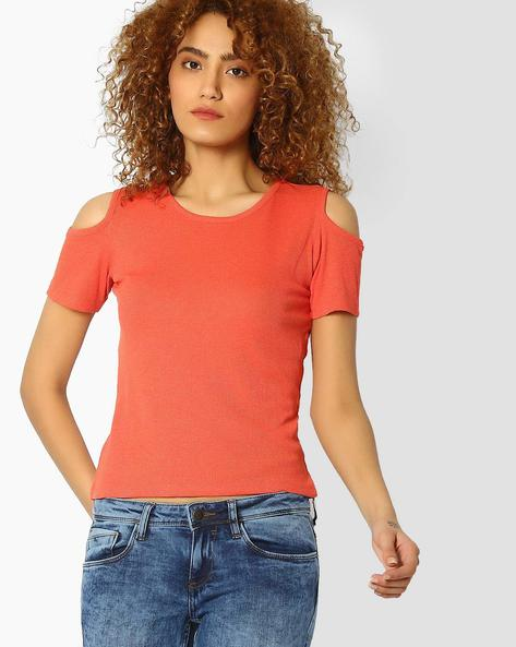 Cold-Shoulder Crew-Neck Top By Ginger By Lifestyle ( Orange )