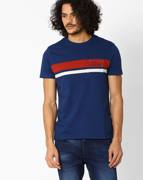 Slim Fit Crew-Neck T-shirt By US POLO ( Blue )