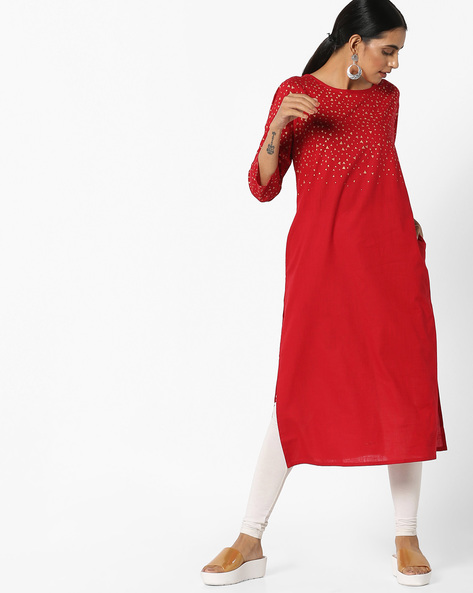 Printed Straight Kurta By Project Eve IW Casual ( Red )