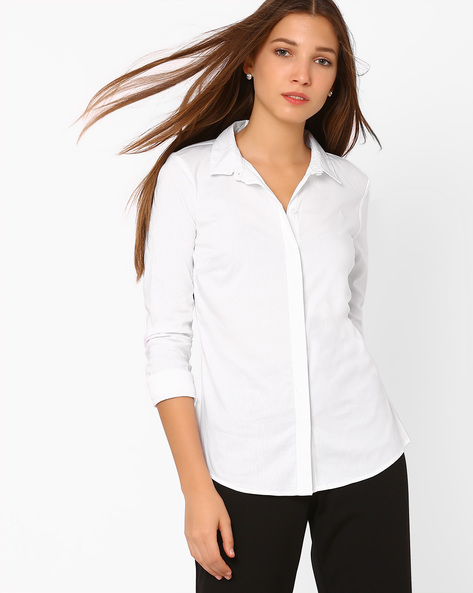 Classic Shirt With Concealed Button Placket By Vero Moda ( White )