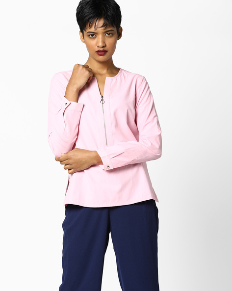 Top With Front Zipper By AJIO ( Pink )