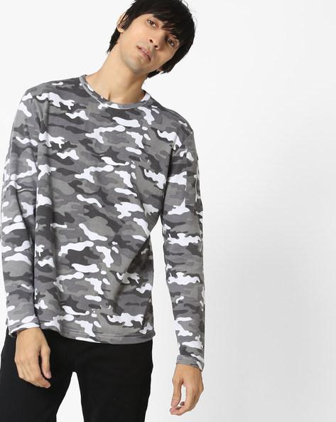 Camouflage Print Crew-Neck Sweatshirt By DEEZENO ( Grey )